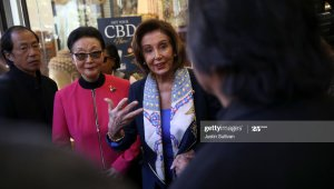 SAN FRANCISCO, CALIFORNIA - FEBRUARY 24:  U.S. Speaker of the House Rep. Nancy Pelosi (R) (D-CA) and Florence Fang (L) talk with business owners as she tours San Francisco's Chinatown on February 24, 2020 in San Francisco, California. Nancy Pelosi joined community leaders on a merchant walk and dim sum lunch in San Francisco's Chinatown as concerns over the Coronavirus have had an impact on businesses in Chinatown. (Photo by Justin Sullivan/Getty Images)